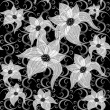 Black and white effortless floral pattern — Stock Vector