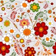 Grey seamless floral pattern - Stock Vector