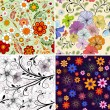 Set seamless floral pattern — Stock Vector