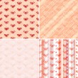 Set seamless valentine pattern — Stock Vector