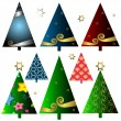 Set christmas trees — Stockvektor