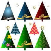 Set christmas trees — Stock Vector