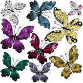 セットの抽象的な蝶 — ストックベクタ