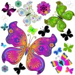 Set colorful and black butterflies — Stock Vector