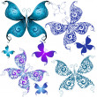Set mariposas vintage — Vector de stock