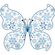 Christmas snowflake-butterfly — Stock Vector