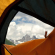 Stock Photo: View from tent on mountains