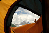 View from tent on mountains — Stock Photo