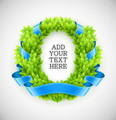 Floral wreath of green leaves with blue ribbon — Vector de stock