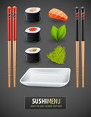 Sushi details of japanese cuisine — Stock Vector