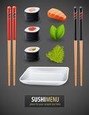 Sushi details of japanese cuisine — Stock Vector