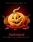 Halloween pumpkin jack-o-lantern in blood — Stock Vector