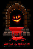 Halloween terrible door bloody entrance and glowing face — Stock Vector