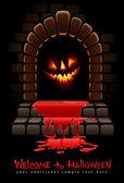 Halloween terrible door bloody entrance and glowing face — Stock Vector