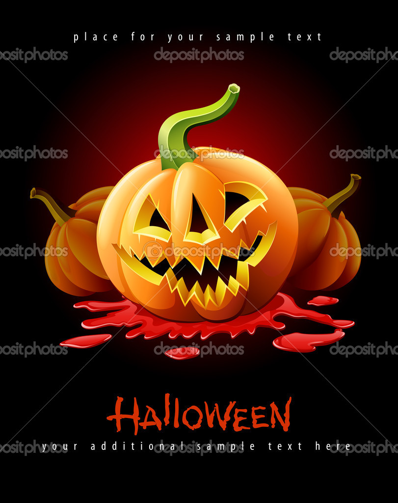 Halloween pumpkin jack-o-lantern with angry face in red blood vector illustration isolated on black background — Stockvectorbeeld #6866531