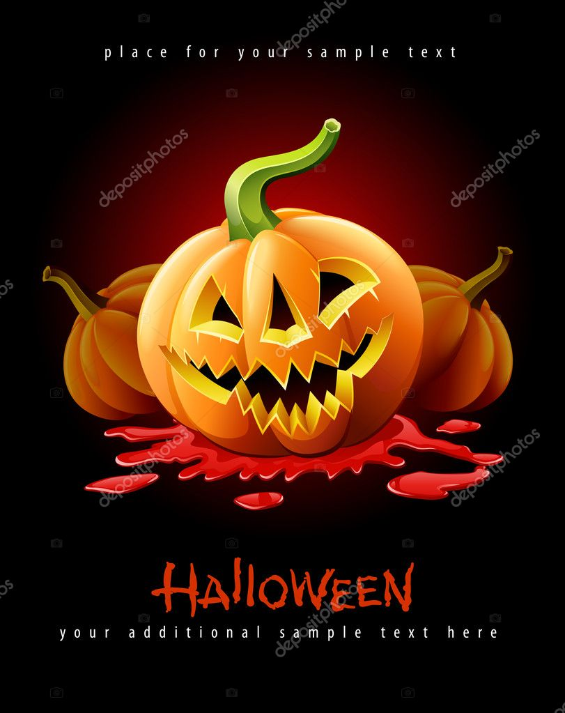 Halloween pumpkin jack-o-lantern with angry face in red blood vector illustration isolated on black background  Stock Vector #6866531