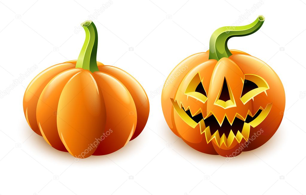 Halloween pumpkin jack-o'-lantern with angry face vector illustration isolated on white background — Stock Vector #6866632