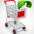 Empty shopping cart with green arrow — Stockvektor