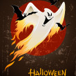 Flying and burning burning white halloween ghost - Stock Vector