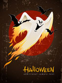 Flying and burning burning white halloween ghost — Stock Vector