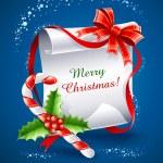 圣诞贺卡与焦糖甘蔗 — 图库矢量图片