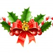 Christmas decoration of red bow with gold bell and holly leaves - Vettoriali Stock