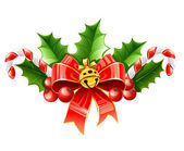 Christmas decoration of red bow with gold bell and holly leaves — Vettoriale Stock