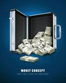 Caso con el concepto de dinero dólares — Vector de stock
