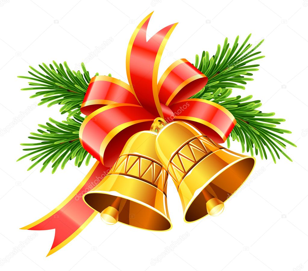Gold christmas bells with red bow and fir stock vector - Campanas de navidad ...