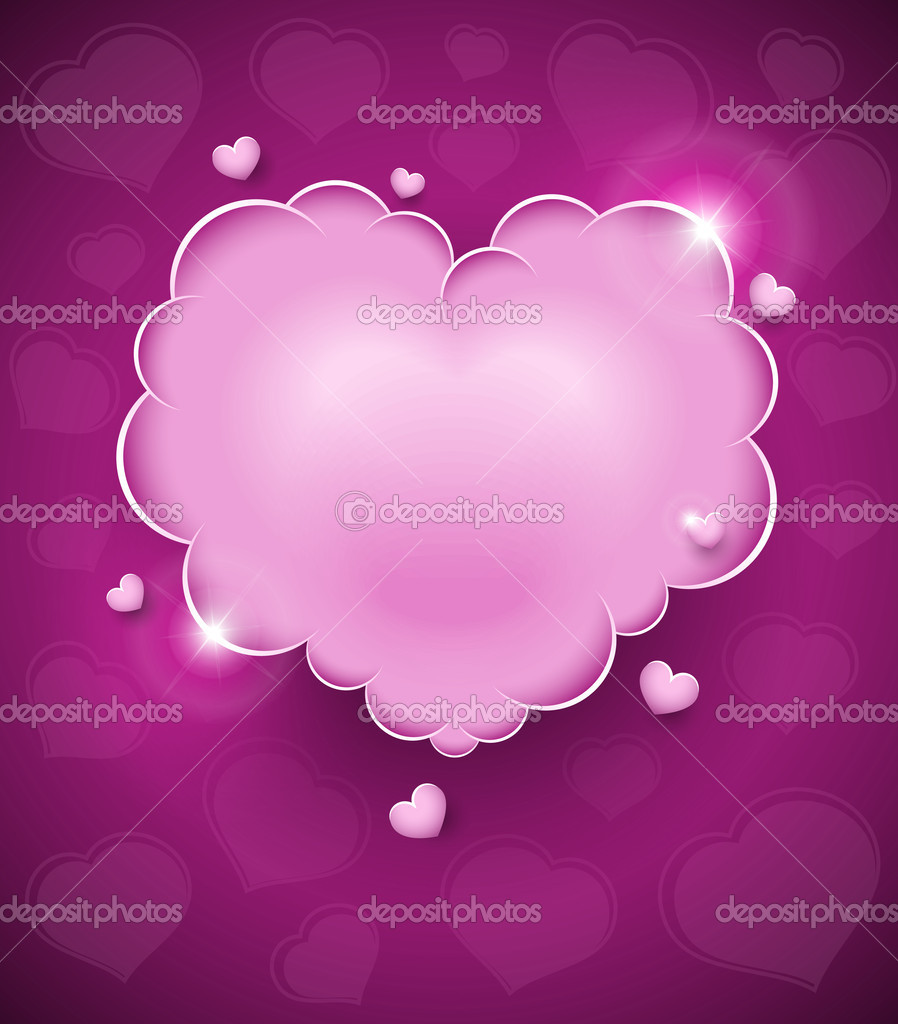 Pink glamour heart cloud vector illustration for Valentines day. EPS10. Transparent objects used for shadows and lights drawing — Stock Vector #8131287
