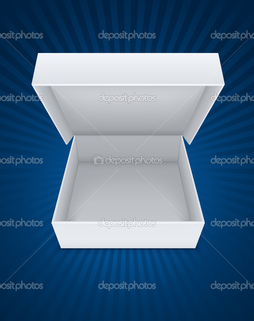 Empty open packaging box vector illustration EPS10. Transparent objects used for shadows and lights drawing — Stock Vector #8554852