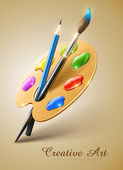 Resim paleti boya fırça ve kurşun kalem araçlarıyla çizim — Stok Vektör