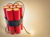 Burning fuse with dynamite explosives — Stockfoto