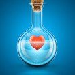 Glass flask bottle with red heart in water inside - Stockvektor