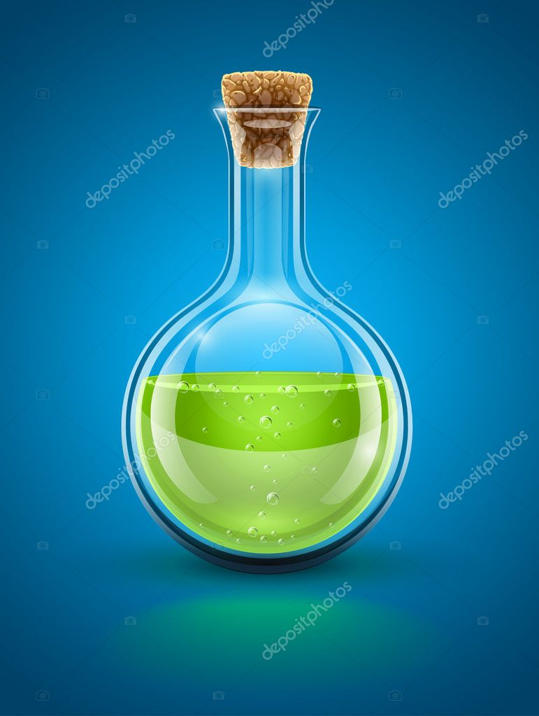 Glass chemical flask with green toxic liquid and cork vector illustration EPS10. Transparent objects used for shadows and lights drawing  Stock Vector #8959388