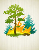 Wildfire disaster with burning forest tree and firtrees — Stock Vector