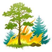 野火灾害与燃烧森林树和 firtrees — 图库矢量图片