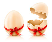 Whole and broken shells of easter eggs with red bow — Stockvector