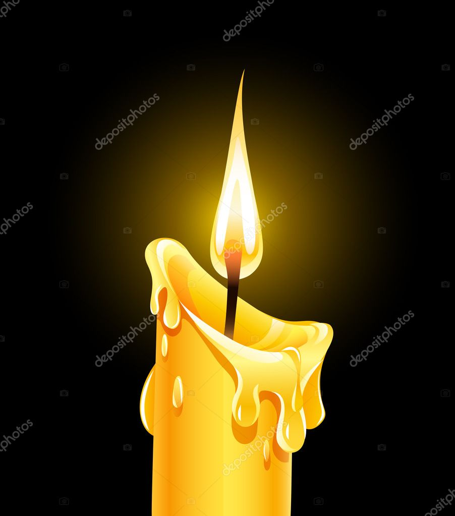 Fire of burning wax candle. Vector illustration isolated on black background — Stock Vector #9141010