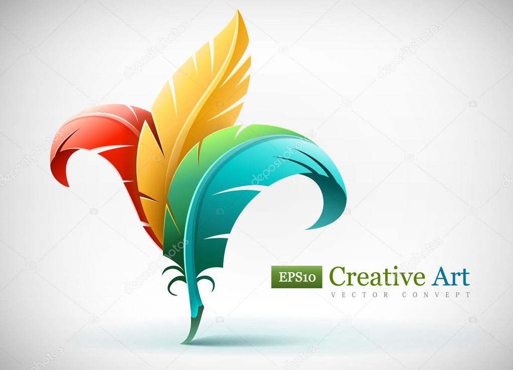 Creative art concept with color red yellow and blue feathers. Vector illustration EPS10. Transparent objects used for shadows and lights drawing. — Stock Vector #9709976