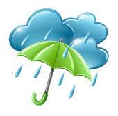 Icona di tempo piovoso con nuvole e ombrello — Vettoriale Stock