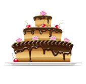 Sweet chocolate cake for birthday — Vector de stock