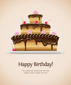 Pastel de chocolate dulce — Vector de stock