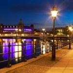 Старый город в ночное время в Стокгольме, Швеция — Стоковое фото