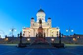 Senaatsplein nachts in helsinki, finland — Stockfoto