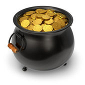 Black pot full of gold coins — Foto Stock