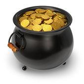 Black pot full of gold coins — Stock Photo