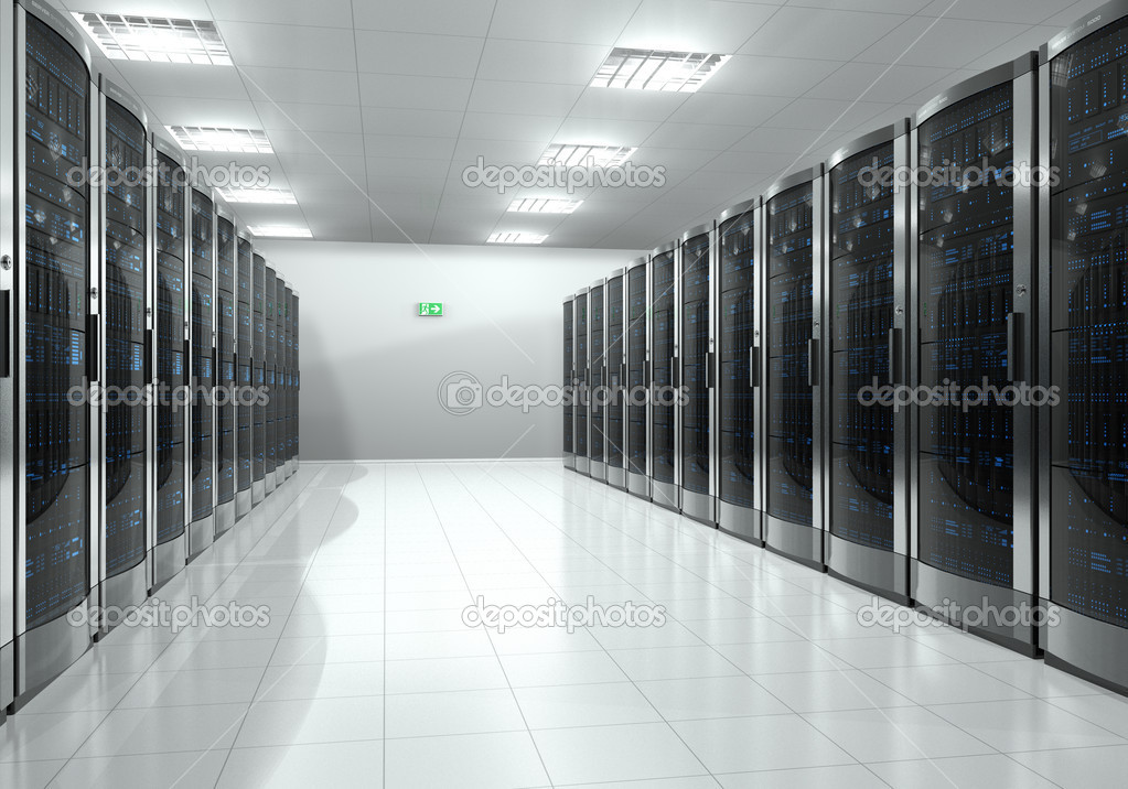 Modern interior of server room in datacenter — Stock Photo #7019184