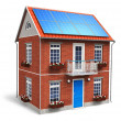 Stock Photo: Residential house with solar batteries on roof