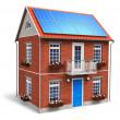 woonhuis met zonne-batterijen op het dak — Stockfoto